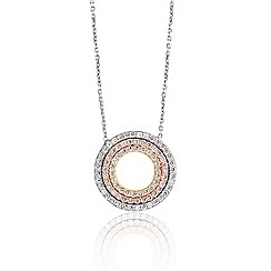 Ingenious - Sterling silver necklace with three colour gold plated small open pave circles pendant