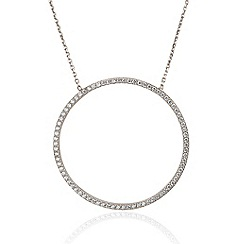 Ingenious - Sterling silver necklace with large open pave circle pendant