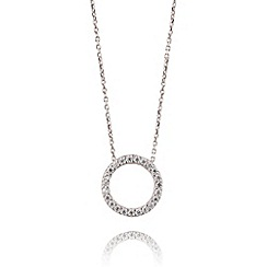 Ingenious - Sterling silver necklace with small open pave circle pendant