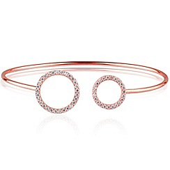 Ingenious - Sterling silver rose gold plated adjustable bangle with open pave circles