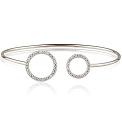Ingenious - Sterling silver adjustable bangle with open pave circles