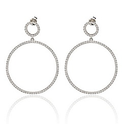 Ingenious - Sterling silver drop earrings with large open pave circles