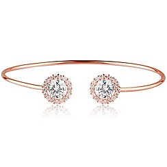 Ingenious - Sterling silver rose gold plated adjustable bangle with diamond cut crystals in a pave surround