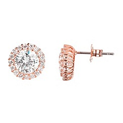 Ingenious - Sterling silver rose gold plated stud earrings with diamond cut crystals in a pave surround