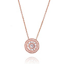 Ingenious - Sterling silver rose gold plated necklace with antique circle drop pendant