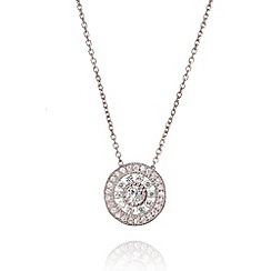 Ingenious - Sterling silver necklace with antique circle drop pendant