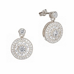 Ingenious - Sterling silver stud earrings with antique circle drop