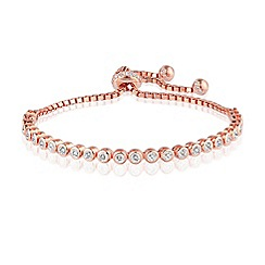 Ingenious - Sterling silver rose gold plated adjustable tennis bracelet