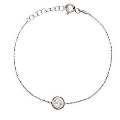 Ingenious - Sterling silver bracelet with large crystal charm