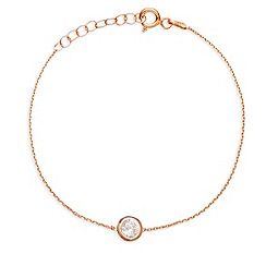 Ingenious - Sterling silver rose gold plated bracelet with small crystal charm