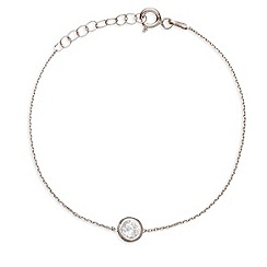 Ingenious - Sterling silver bracelet with small crystal charm