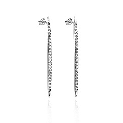 Ingenious - Sterling silver stud earrings with pave vertical bar design