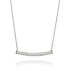 Ingenious - Sterling silver necklace with wide pave bar pendant
