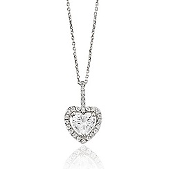 Ingenious - Sterling silver necklace with heart shaped crystal pendant