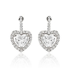 Ingenious - Sterling silver stud earrings with heart shaped crystals