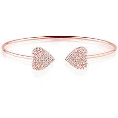 Ingenious - Sterling silver rose gold plated bangle with pave hearts