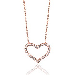 Ingenious - Sterling silver rose gold plated necklace with open pave heart pendant