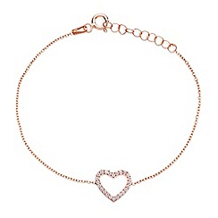 Ingenious - Sterling silver rose gold plated bracelet with open pave heart charm