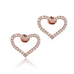 Ingenious - Sterling silver rose gold plated stud earrings with open pave hearts