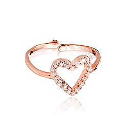 Ingenious - Rose gold vermeil pave open heart ring