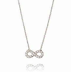 Ingenious - Sterling silver necklace with a small pave infinity pendant