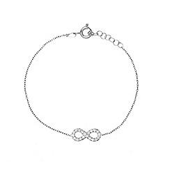 Ingenious - Sterling silver bracelet with a medium pave infinity charm