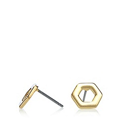 Pilgrim - Gold plated hexagon earrings