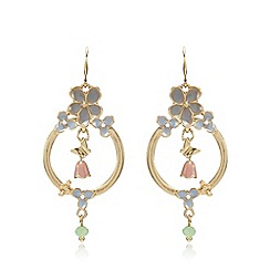 Pilgrim - Gold plated enamel flower earrings