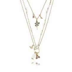 Pilgrim - Gold plated enamel flower necklace