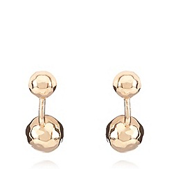 Pilgrim - Rose gold plated double sphere earrings