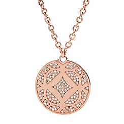Fossil - Ladies rose gold-tone signature pendant