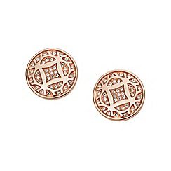 Fossil - Ladies rose gold-tone signature earrings
