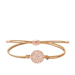 Fossil - Ladies rose gold-tone and nude signature bracelet