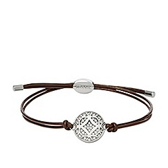 Fossil - Ladies silver-tone and chocolate signature bracelet