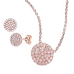 Ingenious - Rose gold necklace and earrings set with small pave circles encrusted with cubic zirconia stones
