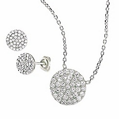 Ingenious - Silver necklace and earrings set with small pave circles encrusted with cubic zirconia stones