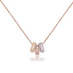 Ingenious - Three colour necklace with three open pave circles encrusted with cubic zirconia stones