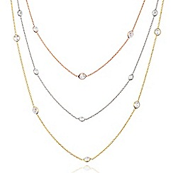 Ingenious - Three colour gold diamonds by the yard necklace encrusted with cubic zirconia stones