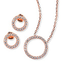 Ingenious - Rose gold necklace and earrings set with open pave circles encrusted with cubic zirconia stones
