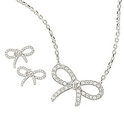 Ingenious - Silver bow necklace and earrings set encrusted with cubic zirconia stones