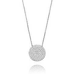 Ingenious - Silver large pave disc necklace encrusted with cubic zirconia stones