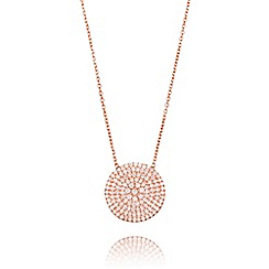 Ingenious - Rose gold necklace with large pave circle encrusted with cubic zirconia stones