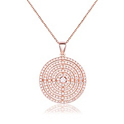 Ingenious - Rose gold necklace with multi circle design encrusted with cubic zirconia stones