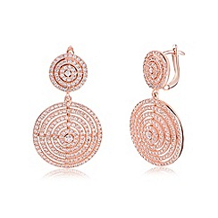 Ingenious - Rose gold earrings with multi circle design encrusted with cubic zirconia stones