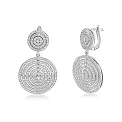 Ingenious - Silver earrings with multi circle design encrusted with cubic zirconia stones