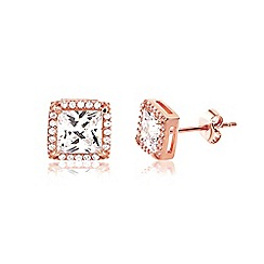 Ingenious - Rose gold square earrings encrusted with cubic zirconia stones