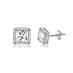 Ingenious - Silver square earrings encrusted with cubic zirconia stones