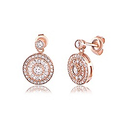 Ingenious - Rose gold antique circle drop earrings encrusted with cubic zirconia stones