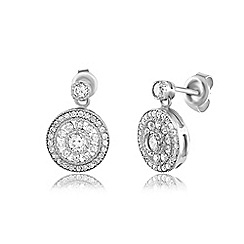 Ingenious - Silver antique drop earrings encrusted with cubic zirconia stones