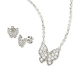 Ingenious - Silver butterfly necklace and earrings set encrusted with cubic zirconia stones